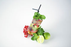 Delicious cocktail. With fruits studio Royalty Free Stock Images