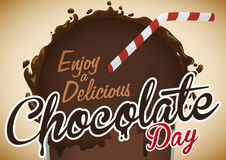 Delicious Cocoa Beverage in Glass with Straw for Chocolate Day, Vector Illustration Royalty Free Stock Photography