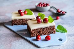 Cocoa cake with cranberries and marzipan glaze royalty free stock images