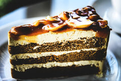 Delicious coffee cake stock photos