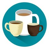 Delicious coffee cups icons. Vector illustration design royalty free illustration