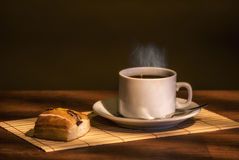 Delicious coffee. Hot coffee breakfast with masses Royalty Free Stock Photography