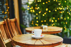 Delicious coffee or hot chocolate in Parisian street cafe Stock Photos