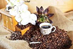 Hot coffee with coffee grinder royalty free stock photography