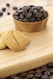 Delicious coffee shortbreads and coffee beans Royalty Free Stock Photography