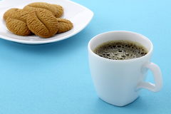 Delicious coffee shortbreads and hot coffee Stock Photos