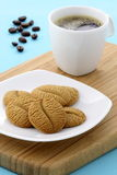Delicious coffee shortbreads and hot coffee Royalty Free Stock Photography