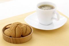 Delicious coffee shortbreads and hot coffee Stock Photography