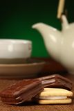Delicious cokies, some tea behind Royalty Free Stock Images