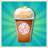 Delicious cold caramel frappe ice-cream colorful c Royalty Free Stock Photo