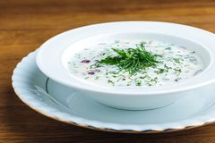Delicious cold summer soup with yogurt and vegetables stock images