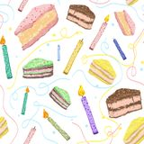 Abstract pattern with cartoon image of pieces of cake for decora. Delicious, colorful and bright pattern with slices of cakes and festive candles for printing on Royalty Free Stock Image