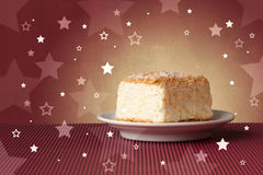 Delicious colorful cake with star shapes on background Royalty Free Stock Image