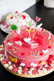 Delicious decorated marzipan cakes Stock Photo
