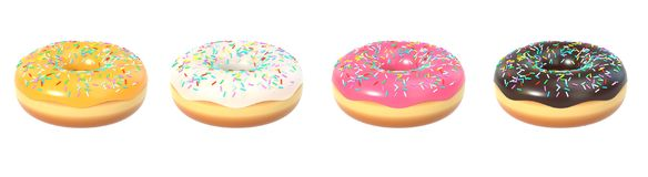 Delicious colorful donut set. Delicious donut with sprinkle, sweet icing set. Macro view of american dessert isolated on white background. Graphic design element Royalty Free Stock Images