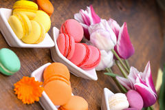 Delicious colorful french macarons Royalty Free Stock Images