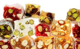 Delicious colorful Turkish delight Stock Images