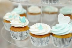 Delicious colorful wedding cupcakes Stock Images