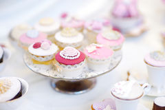 Delicious colorful wedding cupcakes Royalty Free Stock Image
