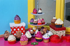 Delicious colorful winter cupcakes Stock Photography
