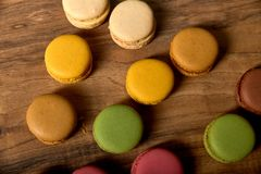 Delicious colorfull sweet macarons royalty free stock photo