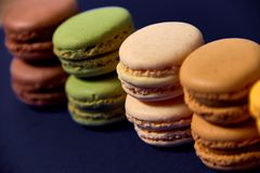 Delicious colorfull sweet macarons stock image