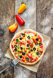 Delicious colourful homebaked pizza Royalty Free Stock Photo