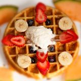 Waffle,Ice Cream, and Fruits Royalty Free Stock Photography