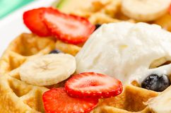 Waffle,Ice Cream, and Fruits Royalty Free Stock Images