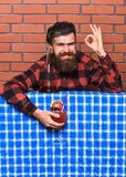 Delicious concept. Man in checkered shirt near bottle, brick wall background. Barman with beard on cheerful face holds. Cocktail and shows ok gesture. Bartender Royalty Free Stock Image