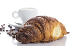 Delicious continental breakfast of coffee and croissants Royalty Free Stock Images