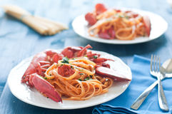 Delicious cooked Italian pasta with a sauce of lobster Stock Photography