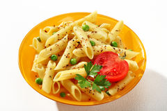 Delicious cooked tubular pasta dish Stock Photos