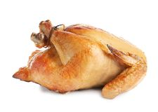 Delicious cooked whole turkey. On white background royalty free stock image