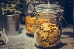 Delicious Cookie In Glass Jar royalty free stock image