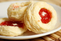Delicious cookie strawberry jam puff pastry Stock Photos