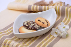 Delicious cookies and biscuits on white plate Royalty Free Stock Image