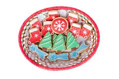 Delicious cookies with Christmas shapes Stock Photos