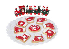 Delicious cookies with Christmas shapes Royalty Free Stock Photos