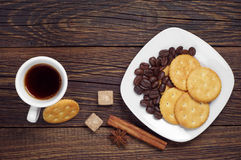 Delicious cookies and coffee Stock Images