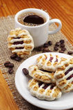 Delicious cookies and cup of coffee Royalty Free Stock Image