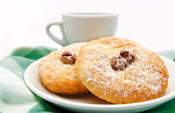 Delicious cookies on a plate and cup of tea  Royalty Free Stock Images