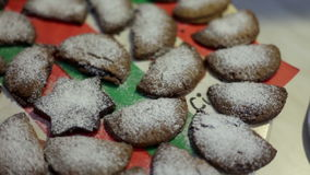 Delicious cookies powdered with vanilla sugar. Close up shot of delicious cookies powdered with vanilla sugar stock footage
