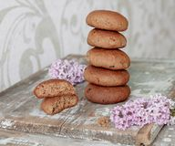 Delicious cookies with  rye   and honey on wooden table Stock Photos
