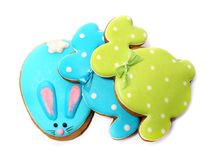 Delicious cookies on a white background. Colored Easter bunny. Fresh cookies on colored background. Bakery. Easter bunny. Holiday. Easter rabbit Royalty Free Stock Images