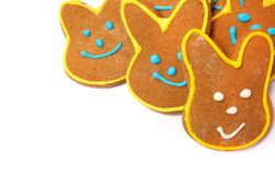 Delicious cookies on a white background. Easter bunny. Fresh cookies on colored background. Bakery. Easter bunny. Holiday. Easter rabbit Royalty Free Stock Photos