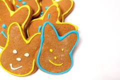 Delicious cookies on a white background. Easter bunny. Fresh cookies on colored background. Bakery. Easter bunny. Holiday. Easter rabbit Stock Image