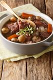 Delicious Coq au vin French cock stewed in wine with vegetables Royalty Free Stock Photos
