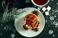 Delicious cottage cheese pancakes with cherry jam, cranberries a Stock Images