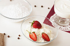 Delicious cottage. Cheese with strawberry Stock Image